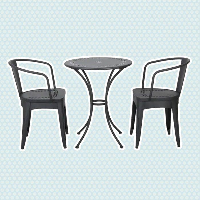 best patio furniture Noble House Lourdes Black Sand 3 Piece Metal Round Outdoor Bistro Set