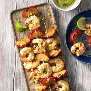 Skewered Ginger Shrimp with Plums