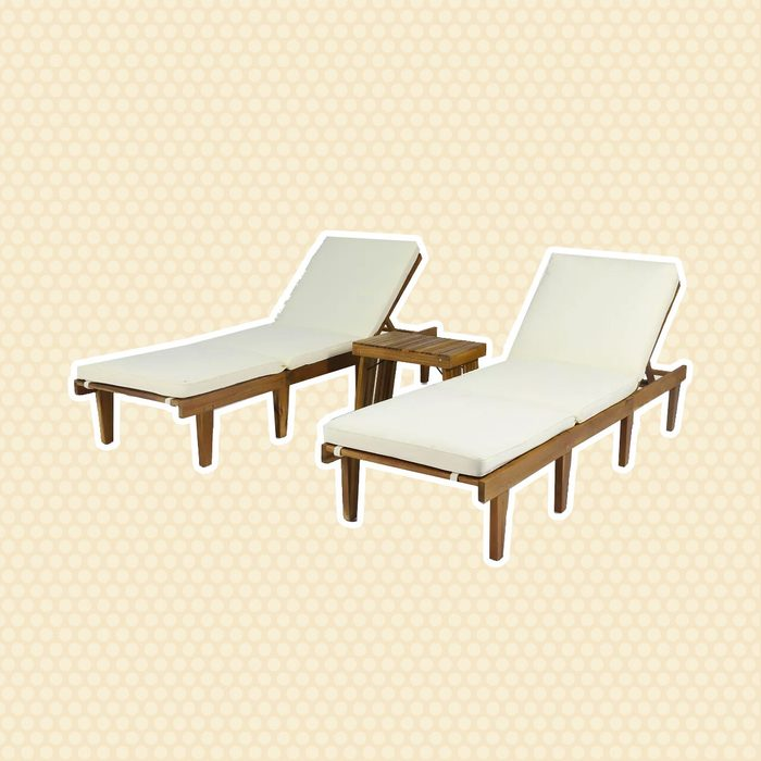 best patio furniture Ariana 3pc Acacia Wood Chaise Lounge Set