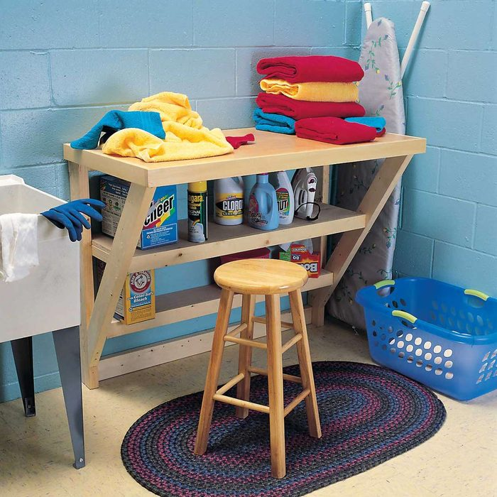 laundry room stool clothes