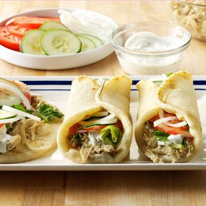 Pressure-Cooker Shredded Chicken Gyros