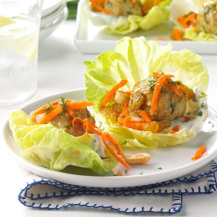Pressure-Cooker Curried Chicken Meatball Wraps