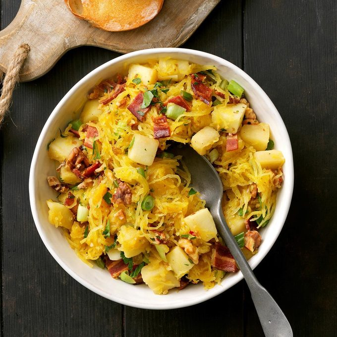 Spaghetti Squash with Apples, Bacon, and Walnuts