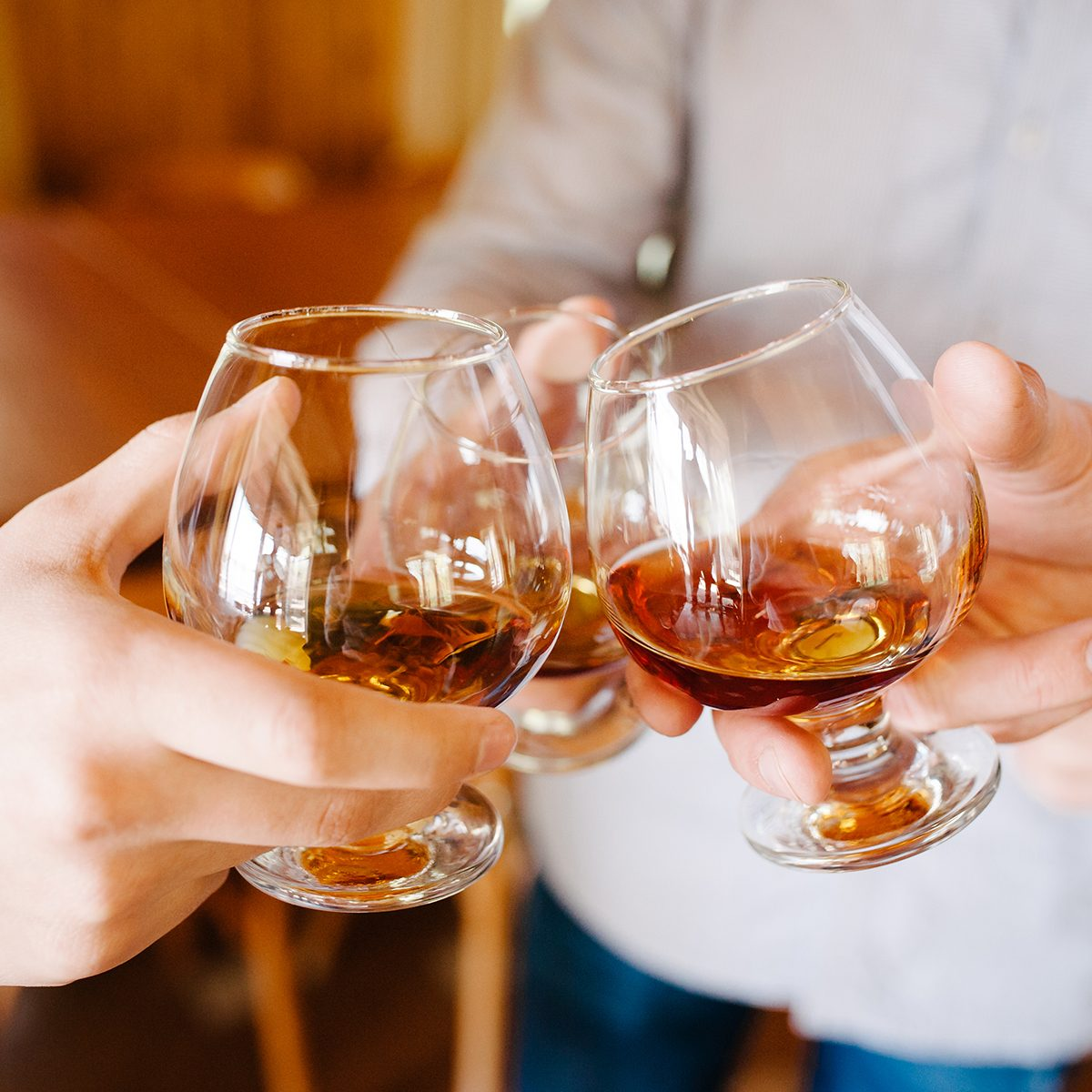 Group of friends a toast to the cheers of cognac or brandy