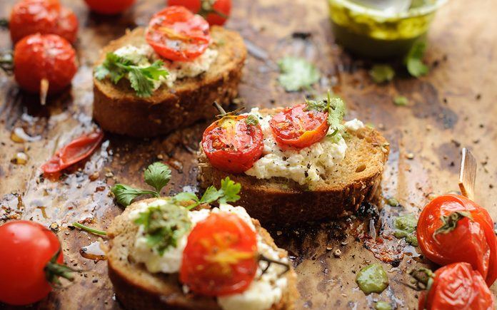 Roasted tomato on toast with cottage cheese