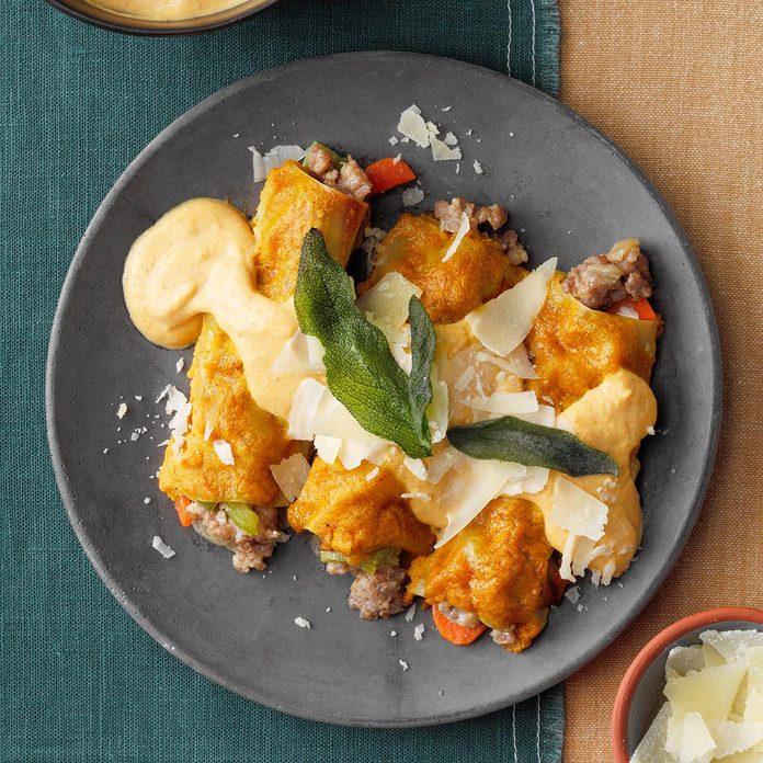 Sausage Manicotti with Pumpkin Sauce