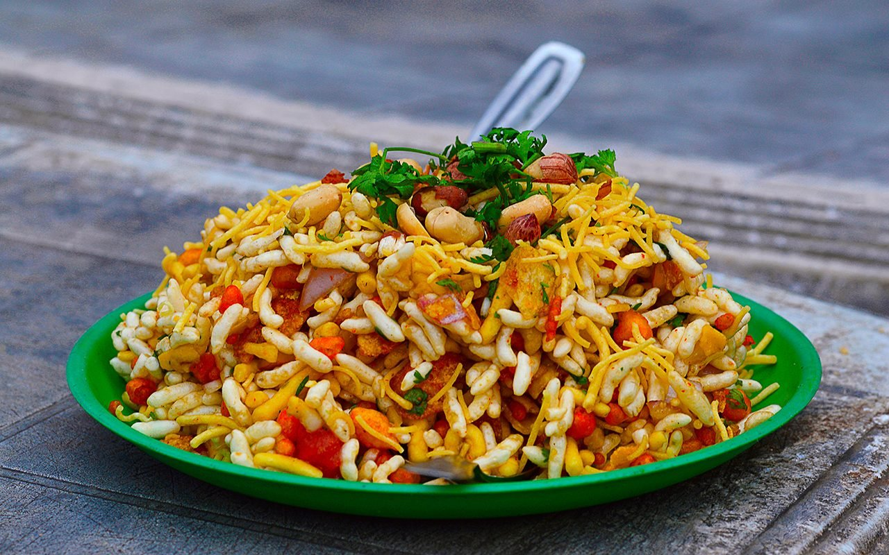 Bhelpuri is a savoury snack or chaat.