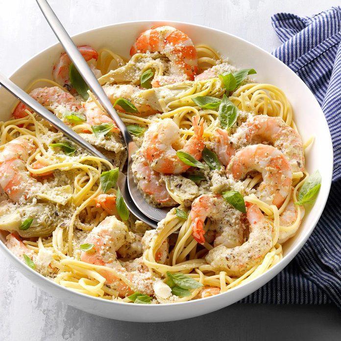 Pesto Shrimp and Artichoke Linguine