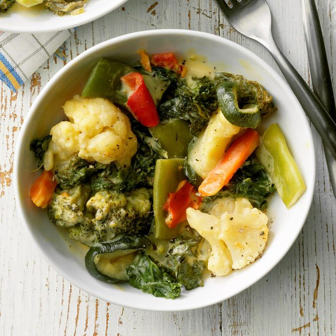 Slow-Cooked Vegetables with Cheese Sauce