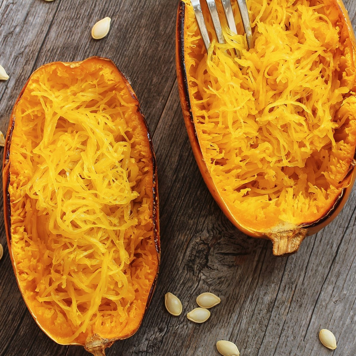 Spaghetti squash top down view; Shutterstock ID 496811113; Job (TFH, TOH, RD, BNB, CWM, CM): TOH
