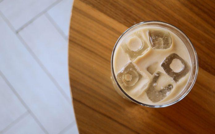 Overhead shot of latte