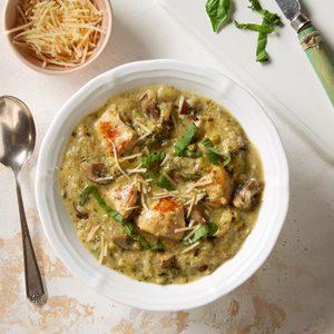 Pressure Cooker Creamy Pesto Chicken Stew