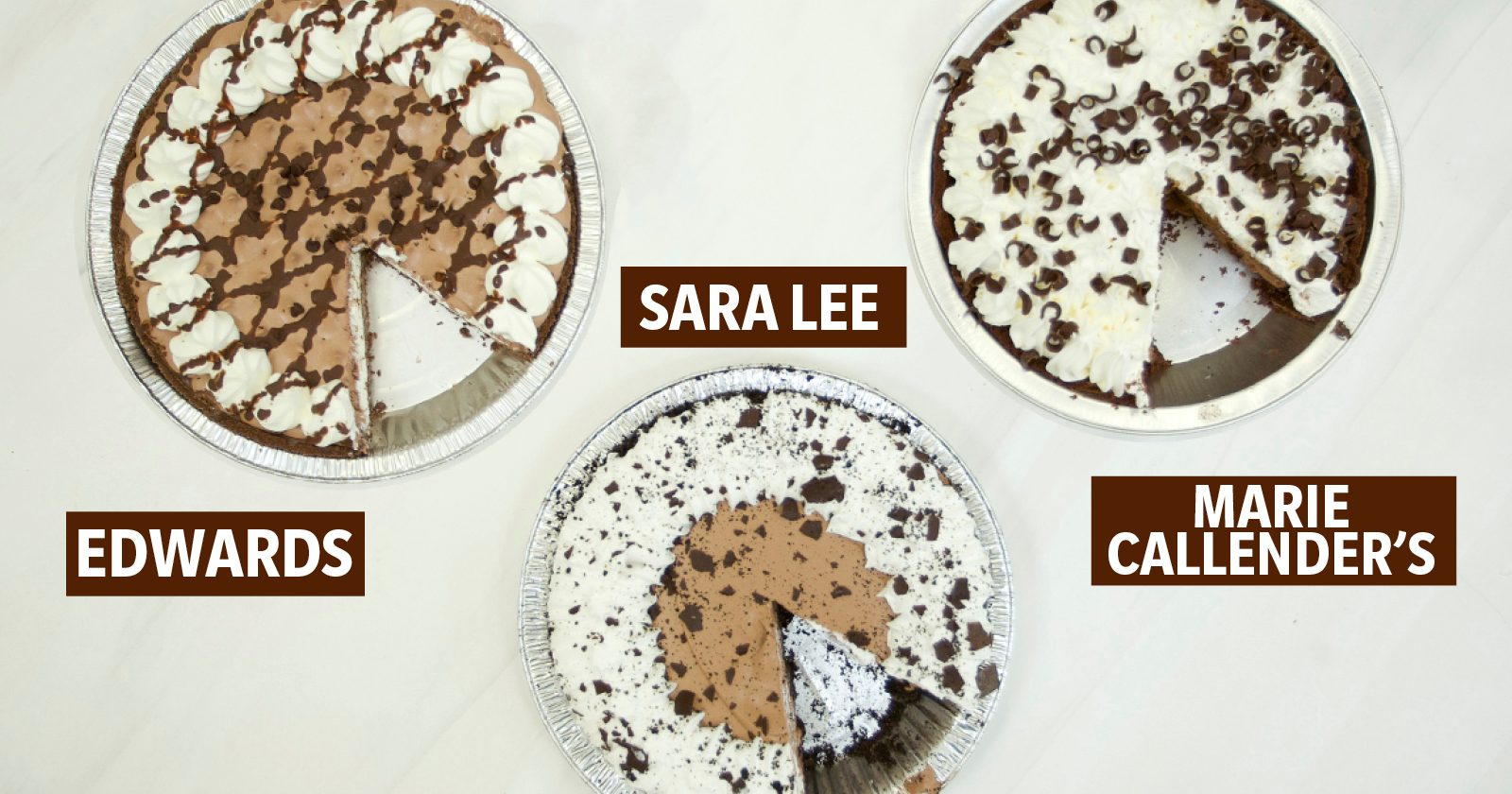 three brands of frozen pies labeled; chocolate pie taste test