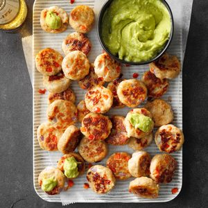 Chicken Cakes with Avocado Mango Sauce