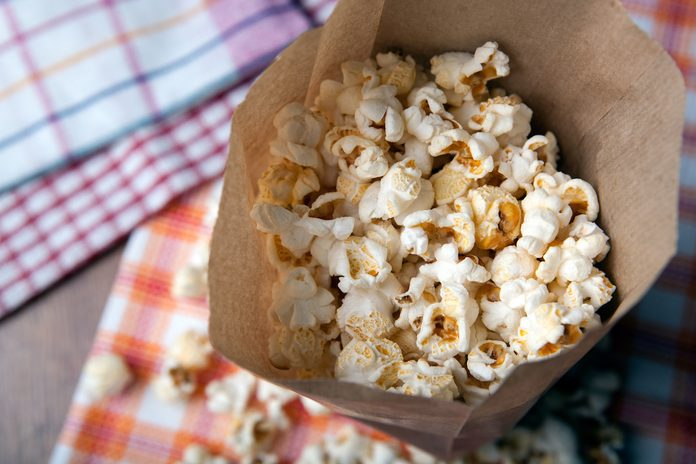 A fresh batch of homemade paper bag popcorn.