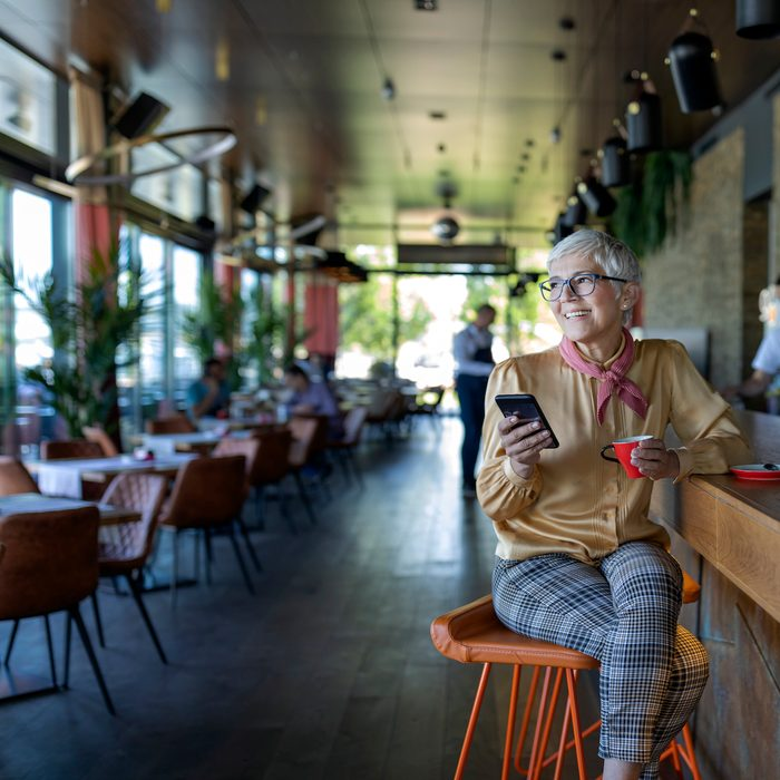 Woman alone in restaurant