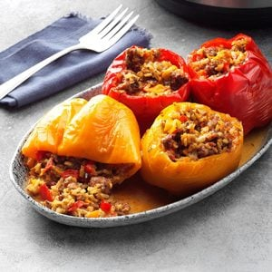 Pressure-Cooker Spicy Sausage and Blue Cheese Peppers