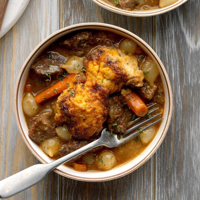 Multi-Cooker Short Rib Stew with Biscuit Topping
