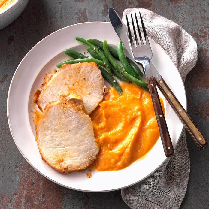Multicooker Cajun Pork Loin with Sweet Potato Puree