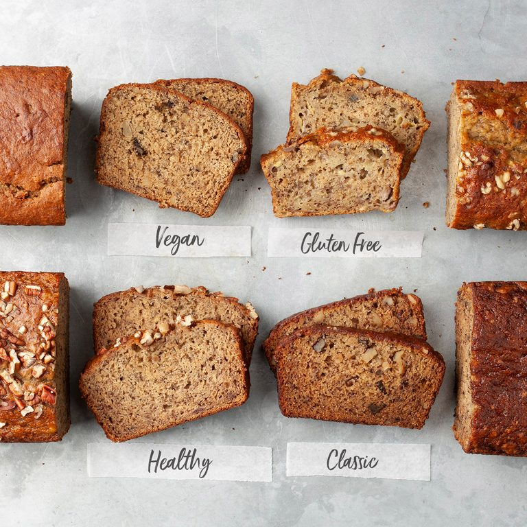 four banana breads: vegan, healthy, classic and gluten free