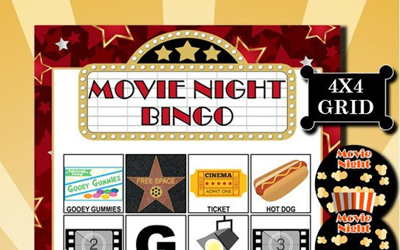 Movie Night 4x4 Bingo printable PDFs contain everything you need to play Bingo.