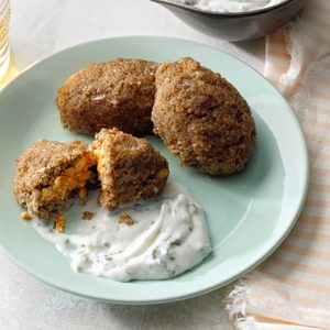 Feta-Stuffed Kibbeh with Harissa