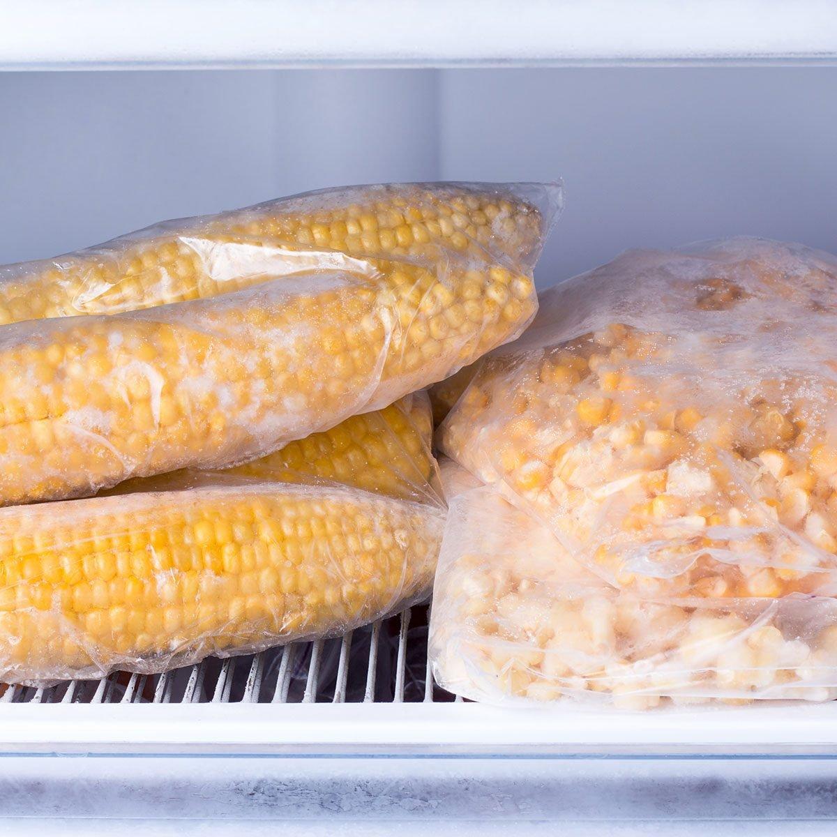 frozen corn in freezer bags