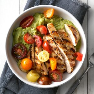 Grilled Chicken Guacamole with Cherry Tomatoes
