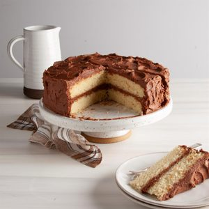 Layered Yellow Cake with Chocolate Buttercream
