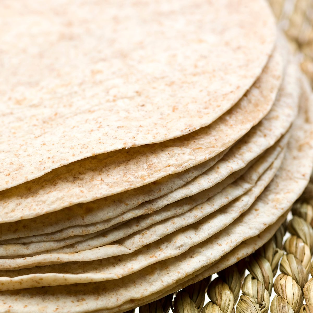 Stack of whole wheat Tortillas close up (this picture has been taken with a Hasselblad H3D II 31 megapixels camera)