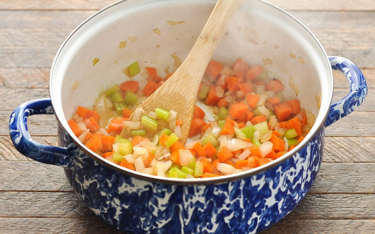 saute vegetables in a pot