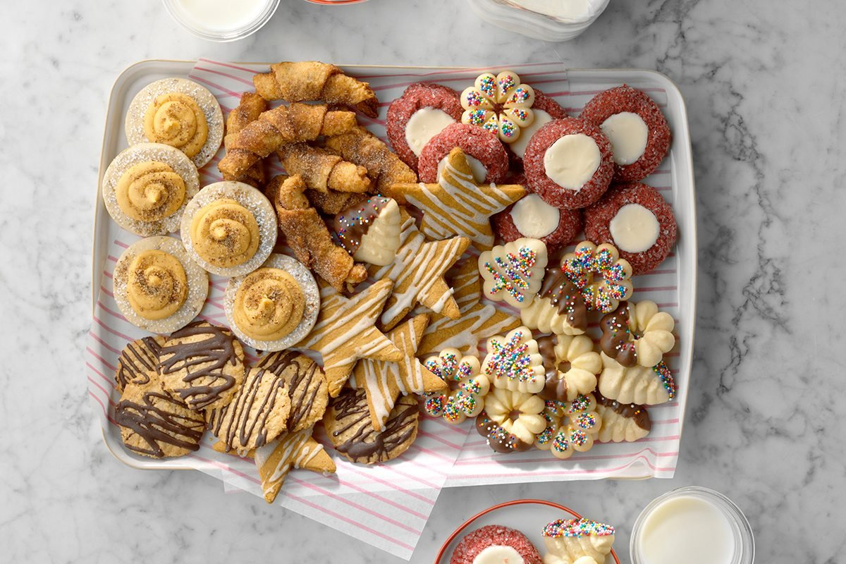 cookie assortment on a try on top of a marble counter