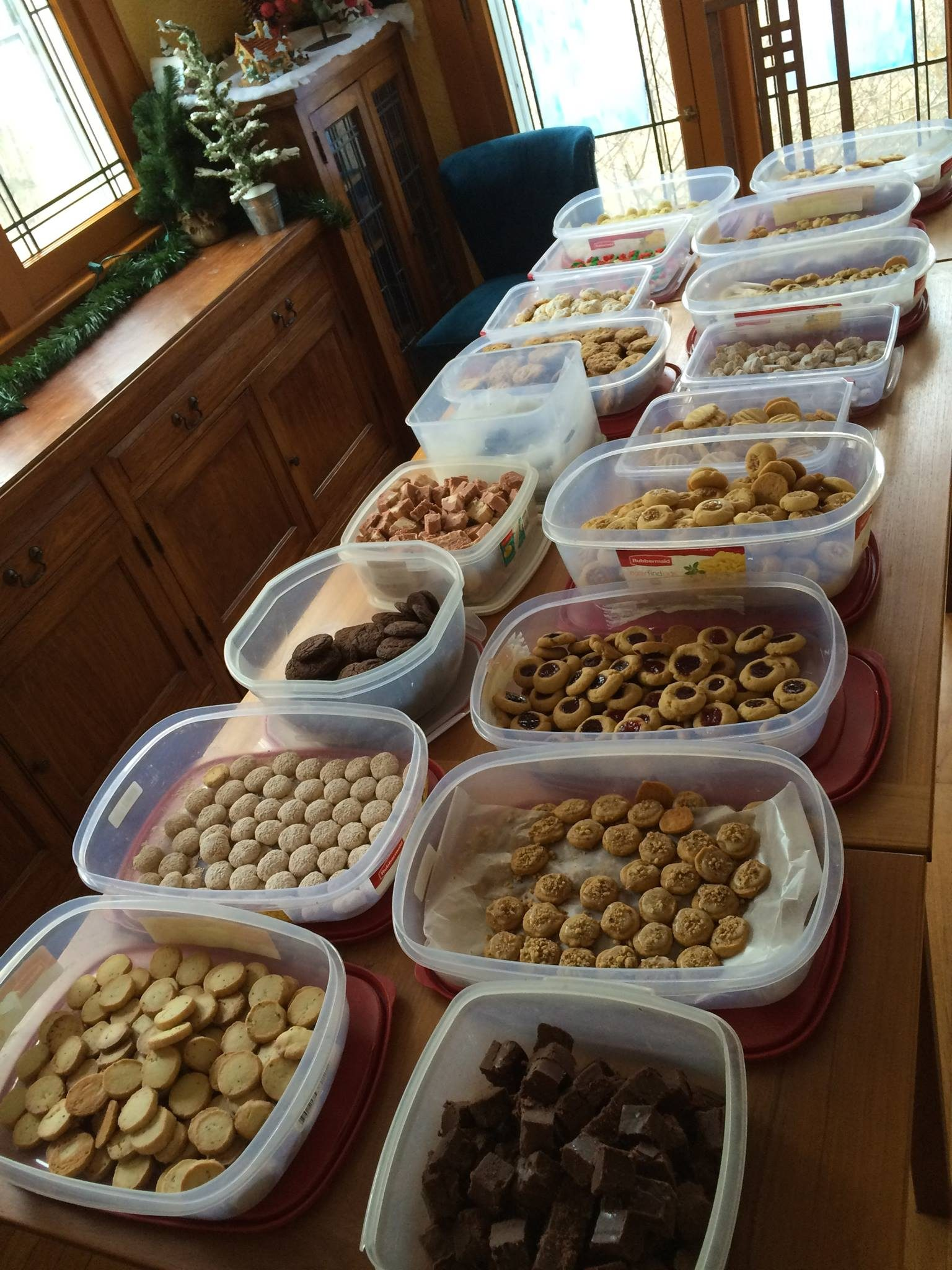 packing all of the christmas cookies up