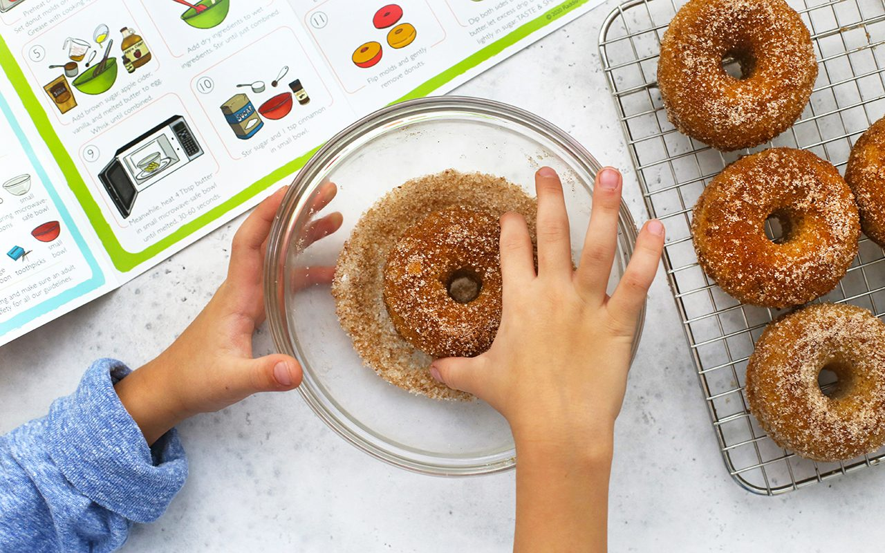 Coating donut in mixing bowl