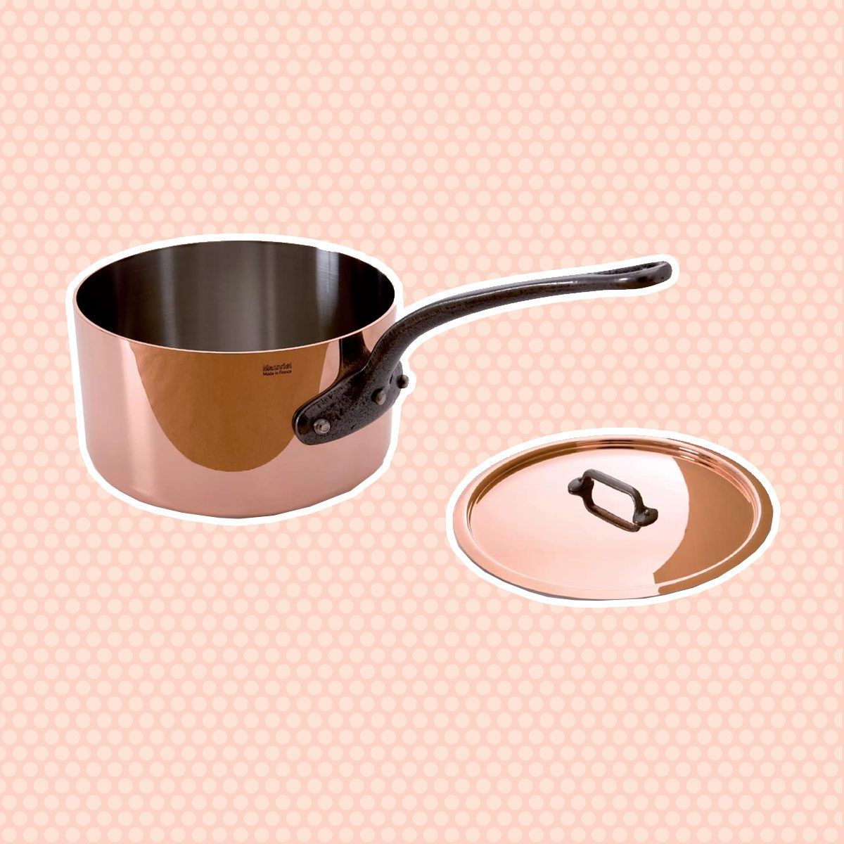Mauviel Made In France M'Heritage Copper M250C 3-1/2-Quart Saucepan with Lid, Cast Iron Handle