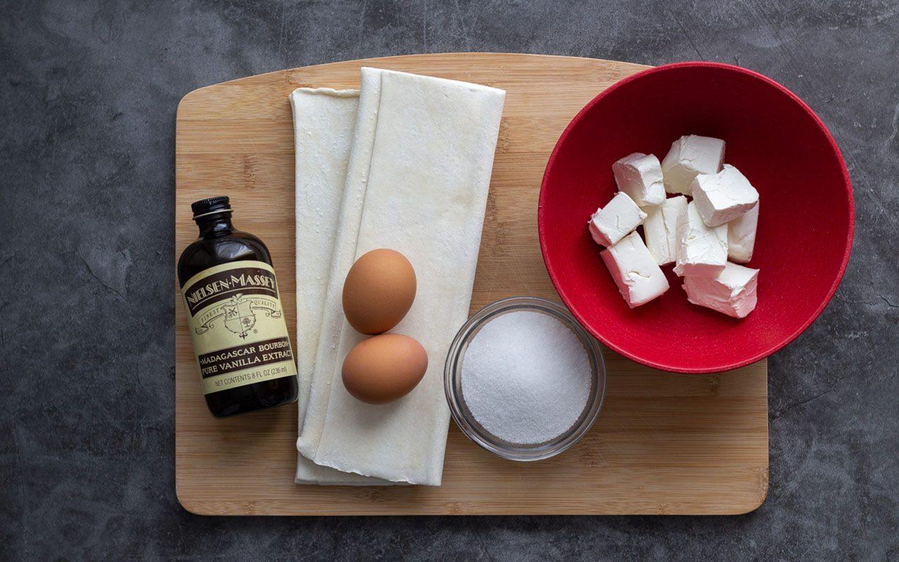 Ingredients including puff pastry, vanilla and cream cheese. starbucks cheese danish copycat