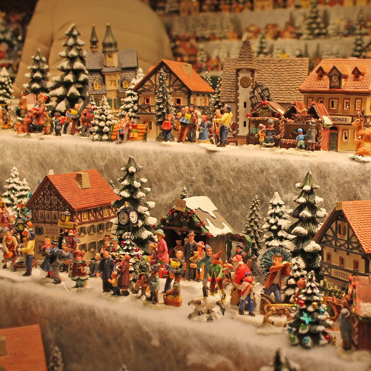 Christmas decoration for sale on advent market. Decorative miniature city houses. Austria,Salzburg.