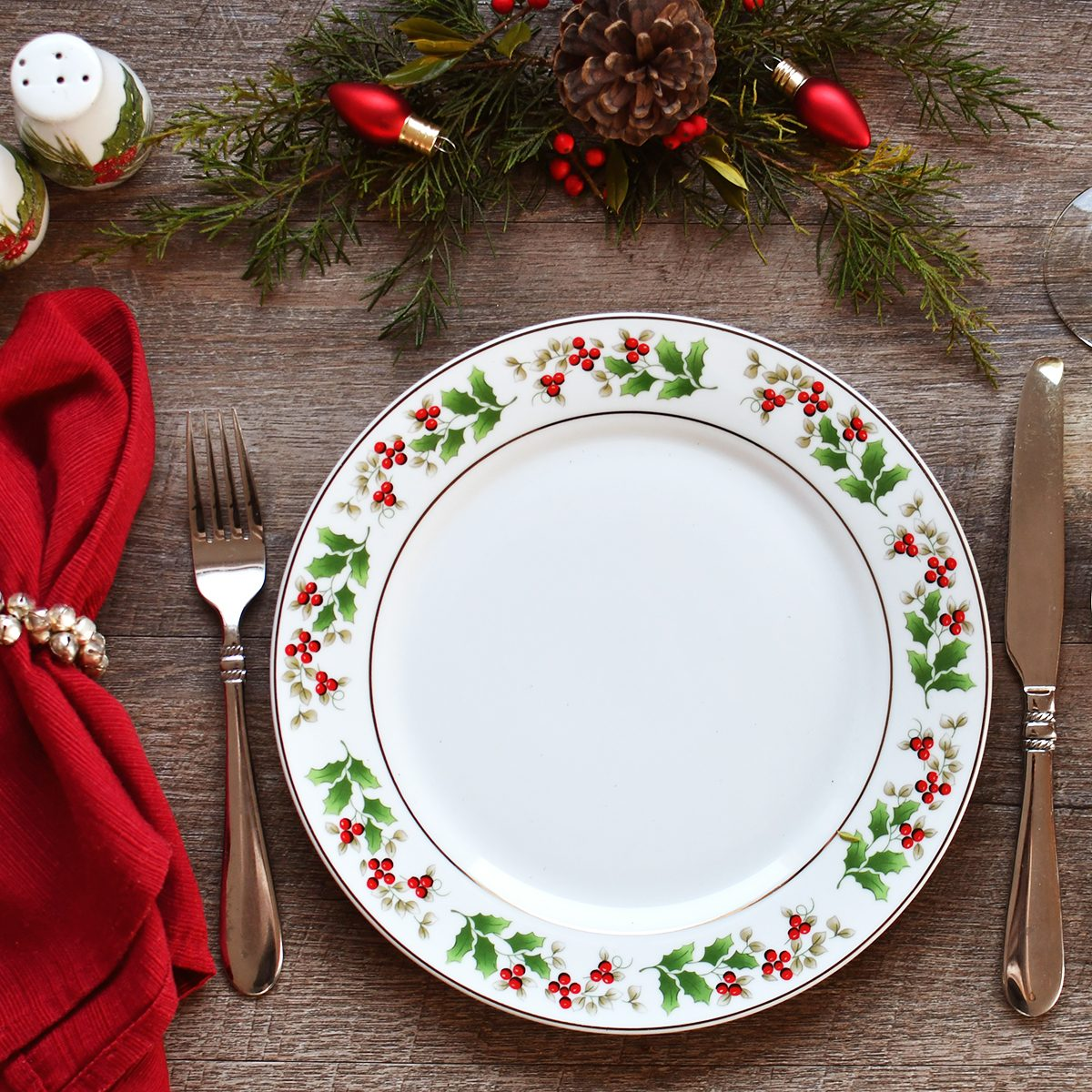 Directly Above Shot Of Eating Utensils On Dining Table During Christmas