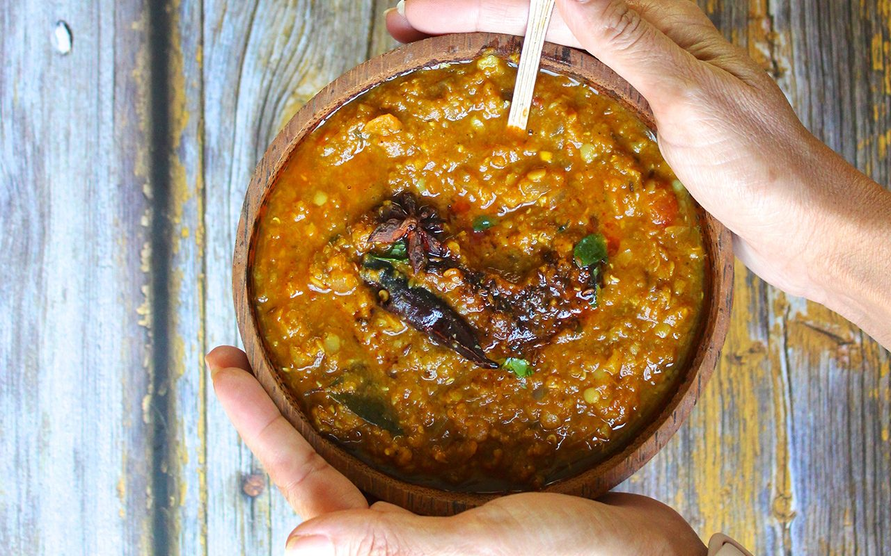 Comforting bowl of red lentil dal