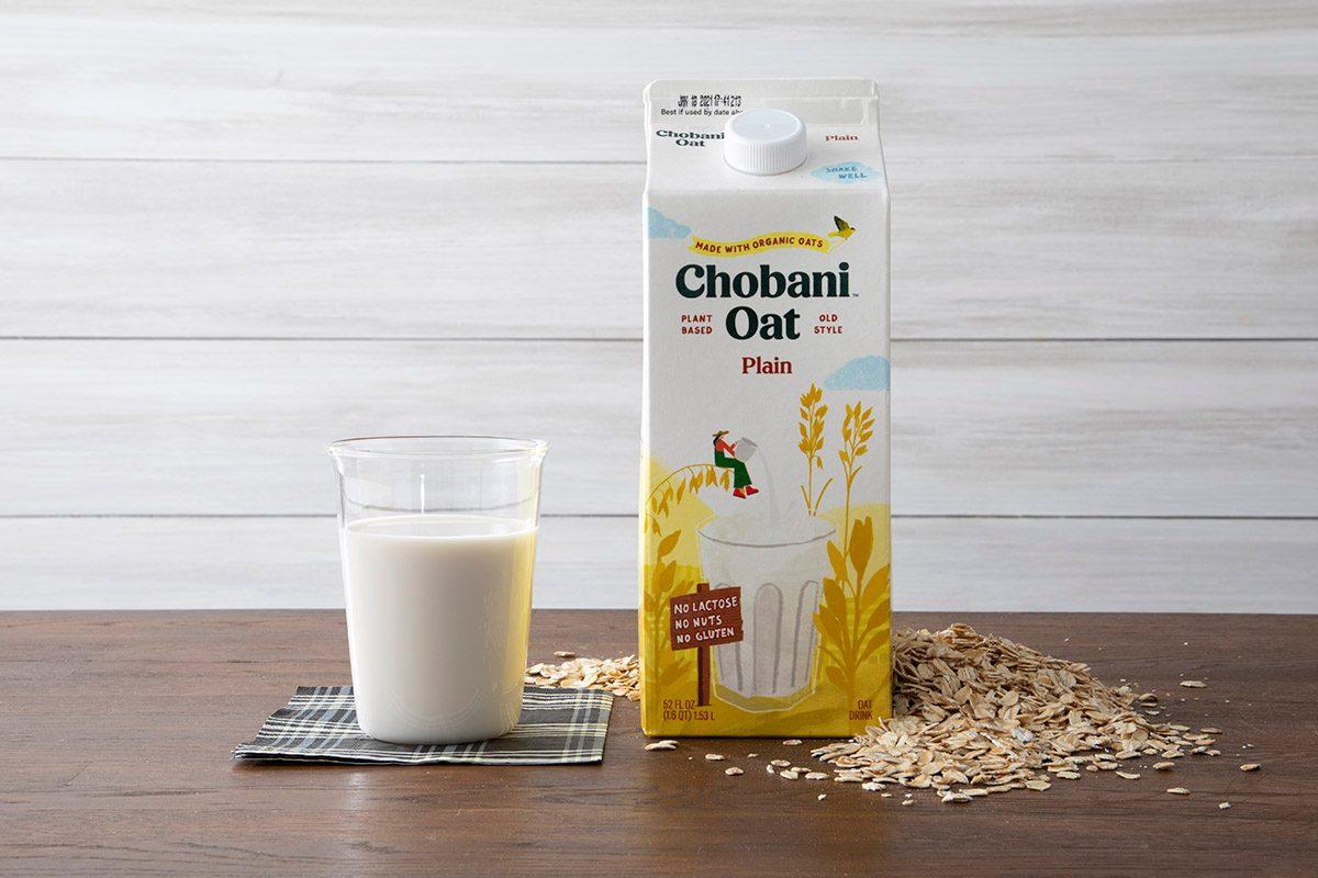 Chobani Oat Milk With Glass And Oats