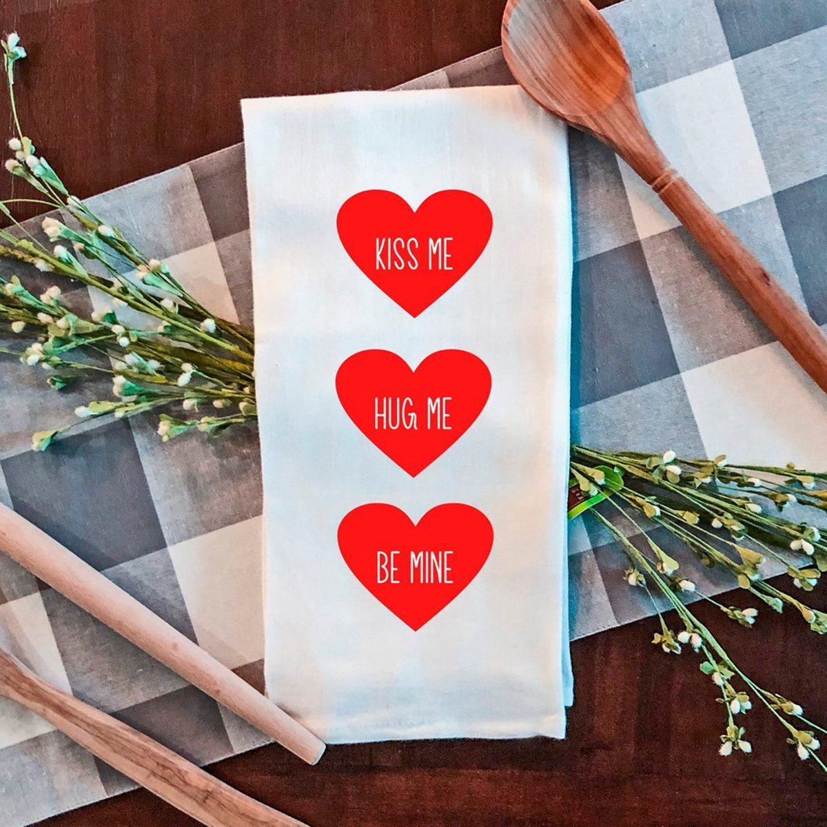 Valentines Flour Sack Tea Towel