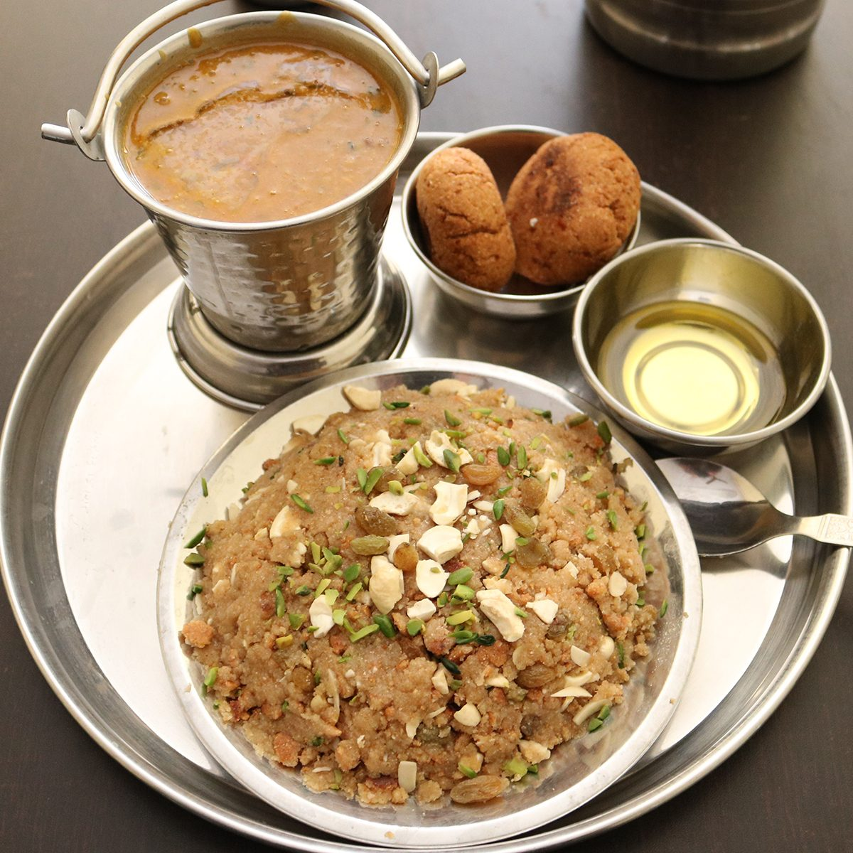 indian main dishes dal Baati Churma - A Unique traditional dish of Rajasthan in India