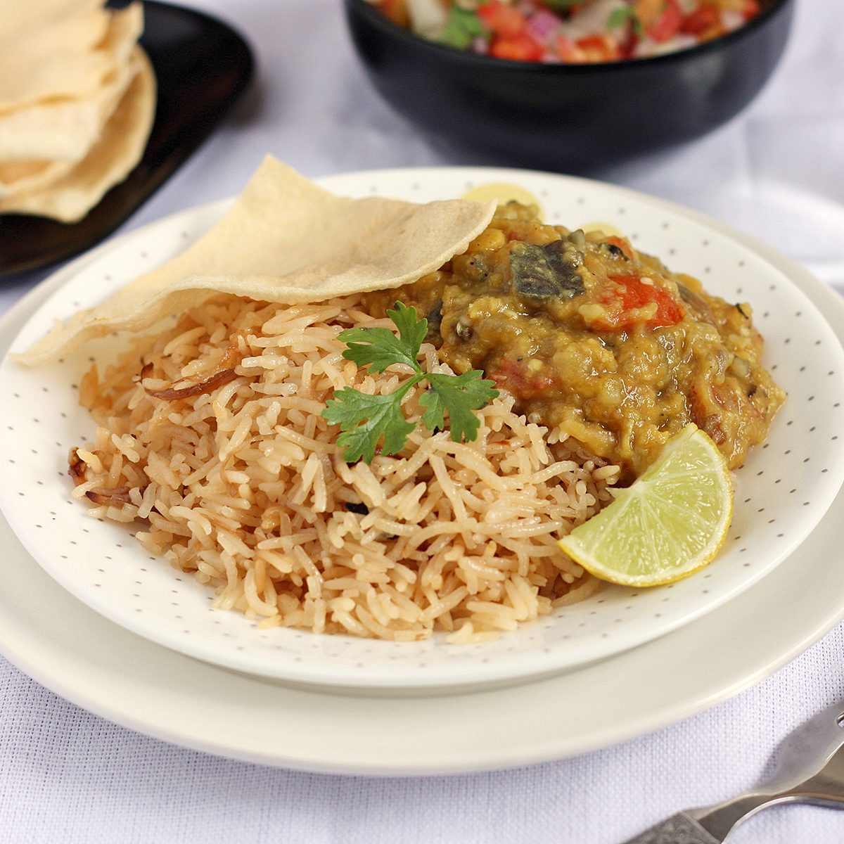 indian main dishes Parsi Brown Rice With Dhansak