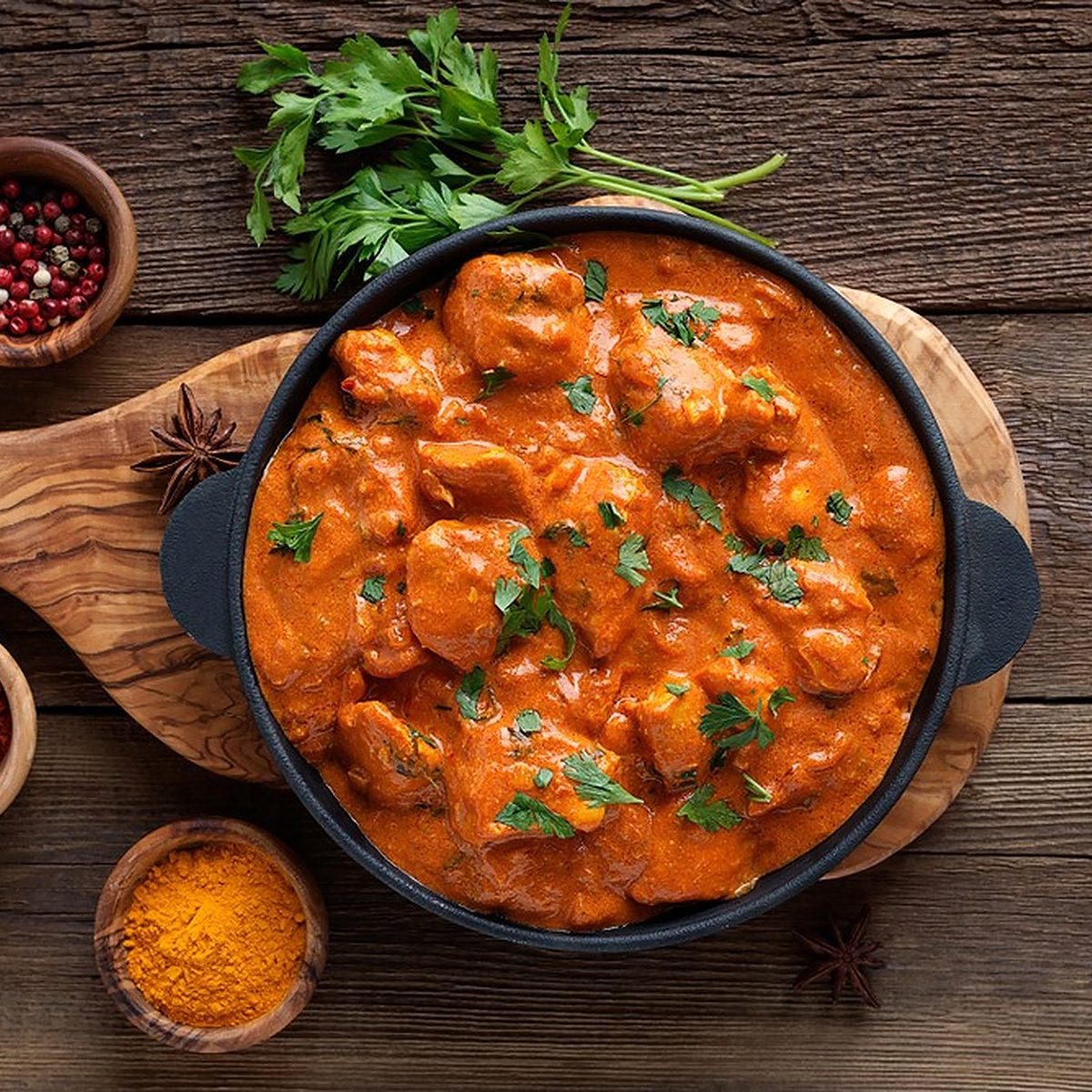 indian main dishes Tasty Butter Chicken Curry Dish From Indian Cuisine.