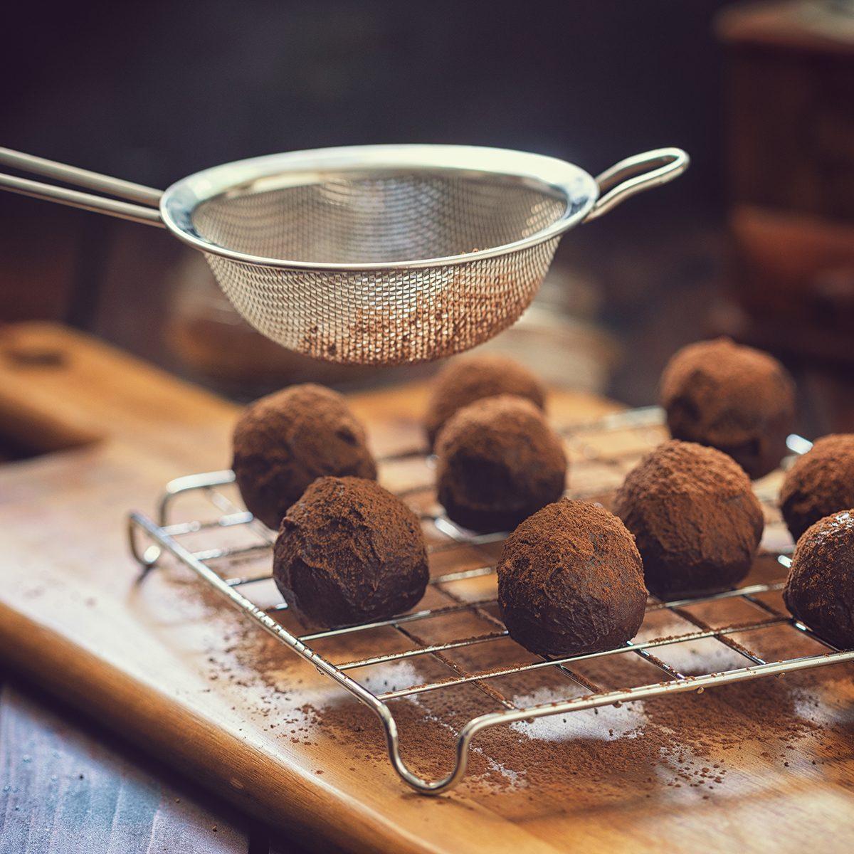 Young Woman Preparing Chocolate Truffles