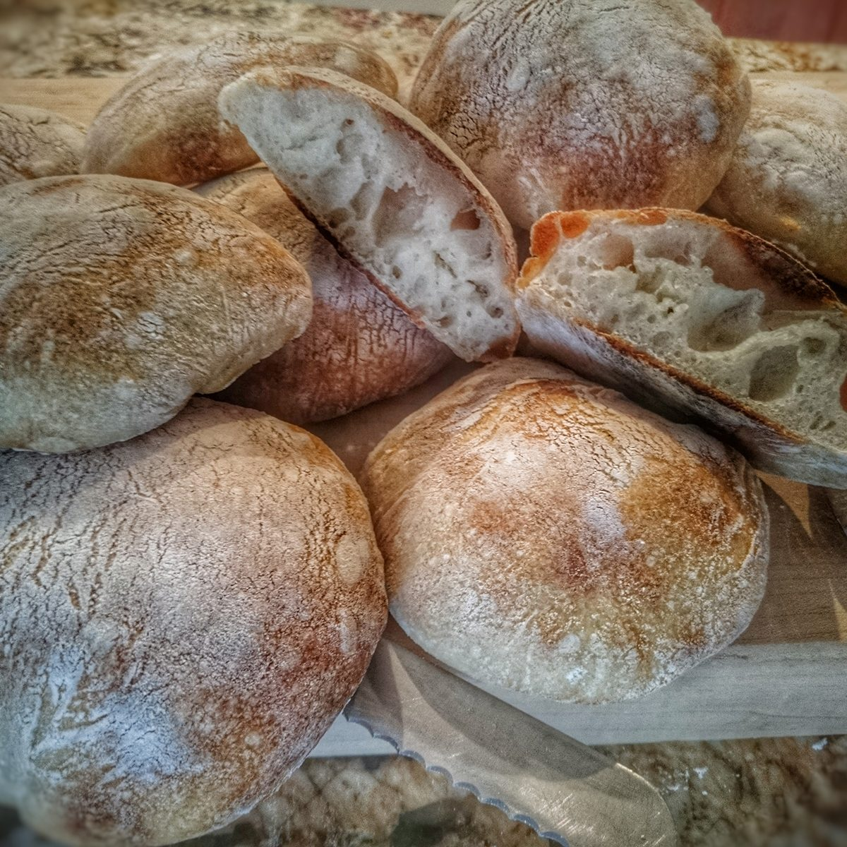 Close Up Of Ciabatta Buns On Wood
