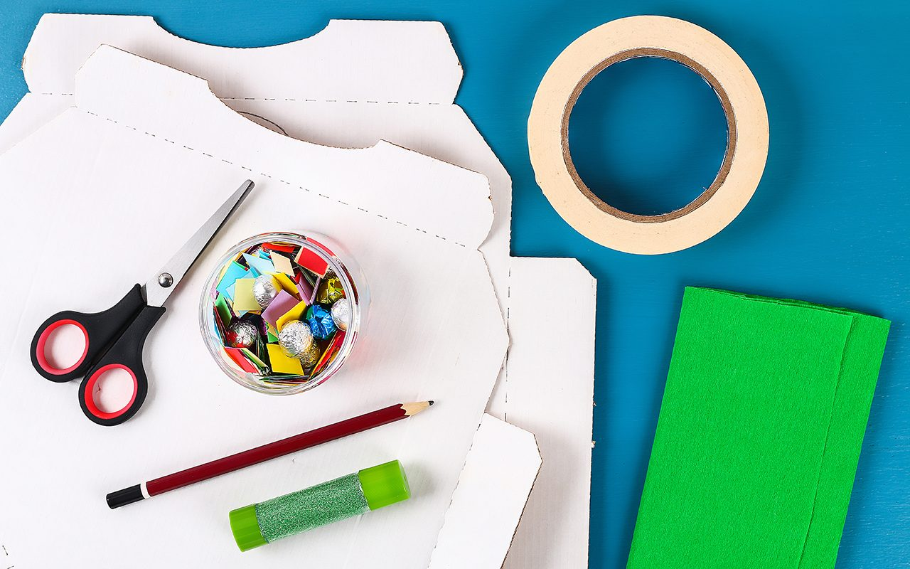 how to make a pinata Diy Cinco De Mayo Mexican Pinata Cactus Made Cardboard, Crepe Paper Your Own Hands Blue Background