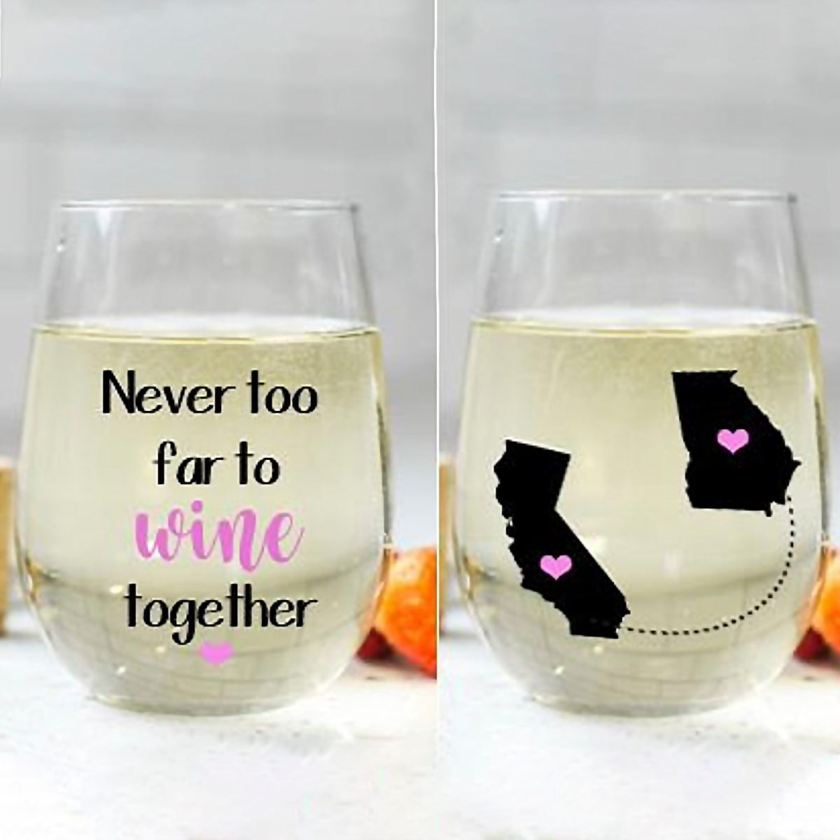 Never Too Far to Wine Together Stemless Wine Glass, Best Friend Wine Glass, Long Distance Friendship Gift, Friendship Gift, Friend Moving