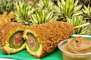 Disney's Latest Snack Is a Fried Pickle Corn Dog Served with Peanut Butter