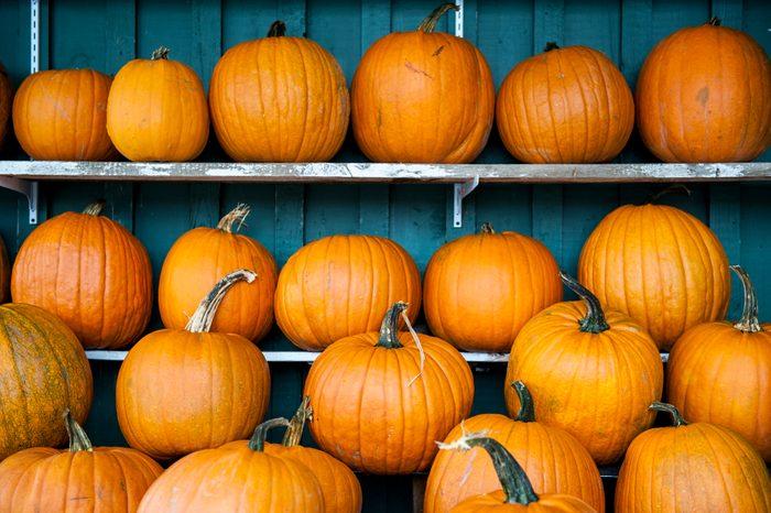 Pumpkins on shelves
